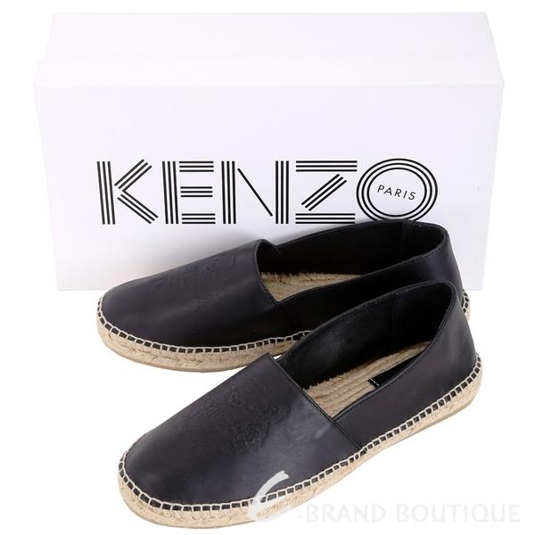 KENZO Tiger 黑色虎頭皮革草編平底鞋(男款/薄版) 1640690-01