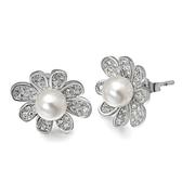耳環 925純銀珍珠-珍珠花卉生日情人節禮物女飾品73dm275【時尚巴黎】