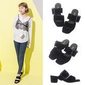 Ann'S韓版時尚-素面大方扣方頭粗跟涼拖鞋-黑