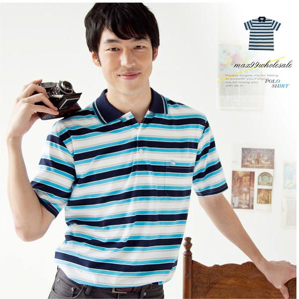 【大盤大】(P82671) 男裝 短袖POLO衫 薄上衣 夏 橫條紋 口袋保羅衫 父親節活動優惠【剩M和L號】