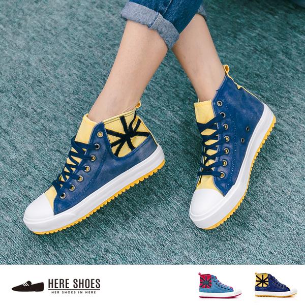 [Here Shoes]  英國街頭風 米字撞色 牛仔布面 3cm厚底 高筒帆布鞋 2色 ─AAB0121