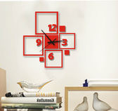 新品創意方框簡約鐘表個性客廳書房立體裝飾牆貼現代靜音時鐘掛鐘WY「名創家居生活館」
