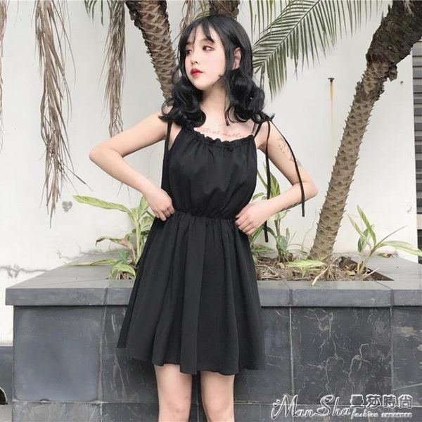 無袖洋裝2018夏裝女裝韓版中長款高腰吊帶裙一字領露肩無袖連身裙女潮 曼莎時尚