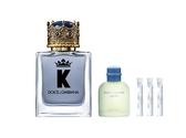 【DOLCE&GABBANA】王者之心男性香水50ml+Light Blue男香4.5ml加贈品牌針管x3