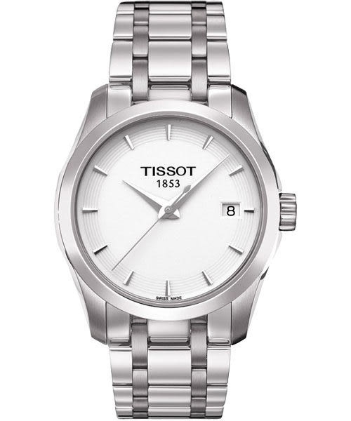 TISSOT 天梭 T-Trend Couturier Lady 時尚簡約手錶-白/銀 T0352101101100