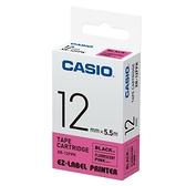 CASIO 標籤機專用螢光色色帶-12mm【螢光粉底黑字XR-12FPK】