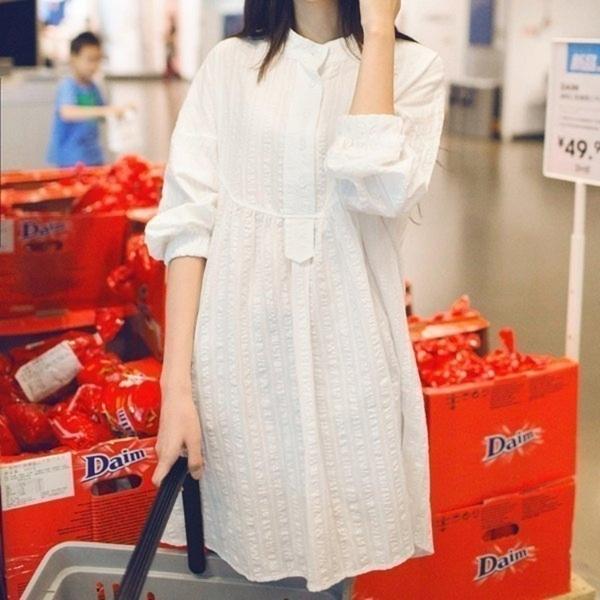漂亮小媽咪 質感洋裝 【D0205】 押花 落肩 九分 長袖 立領 襯衫 孕婦裝 孕婦 襯衫洋裝 長版襯衫 []