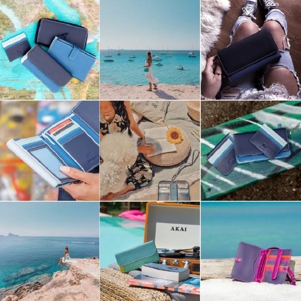 【mywalit】拼色皮革多卡層手機收納拉鍊手拿包(度假海灘)
