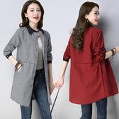 新款2019寬鬆大碼中長款棉麻開衫外套顯瘦撞色長袖百搭格子襯衫8520#ZM-C039 日韓屋