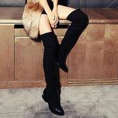 長靴-輕盈超顯瘦彈力布時尚百搭真皮女過膝靴2款71ab13[巴黎精品]