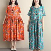 洋裝 連身裙 2019夏裝新款棉麻印花中大尺碼寬鬆短袖連衣裙民族風復古休閒A字裙女