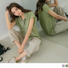 《AB15651-》純色長版翻領反摺短袖襯衫上衣 OB嚴選