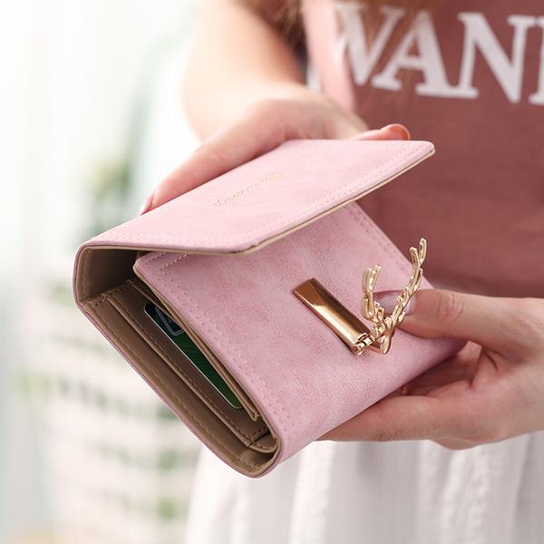 短款皮夾 錢包2020新款韓版女士長短款錢包鹿頭扣多卡位簡約磨砂面小鹿錢包