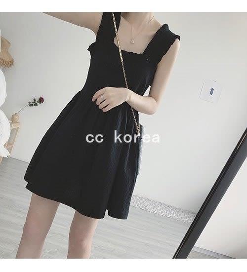 花邊袖方領皺褶洋裝 CC KOREA ~ Q16432