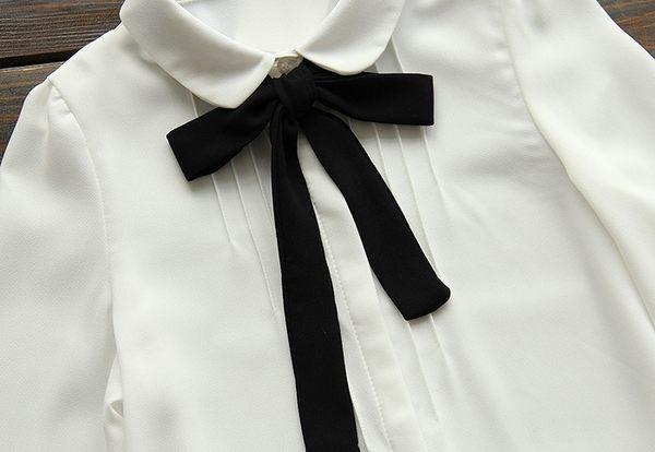 東京奈奈日系娃娃領蝴蝶結長袖雪紡襯衫[j32436]