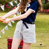 附綁帶條紋短褲 Scottish House【AA2253】