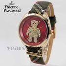 【萬年鐘錶】 Vivienne Westwood  英國 歡樂Party 晶鑽泰迪 蘇格蘭紋皮革錶帶  玫瑰金x紅   38mm  VV103RDBR