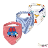 三角口水巾 圍兜兜三件組 純棉防水按扣 唯愛星星車 (嬰幼兒童/寶寶/小孩)