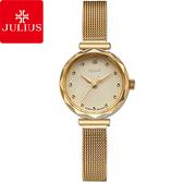 JULIUS 聚利時 浪漫誓言簡約米蘭錶帶腕錶-金色/23mm 【JA-829B】