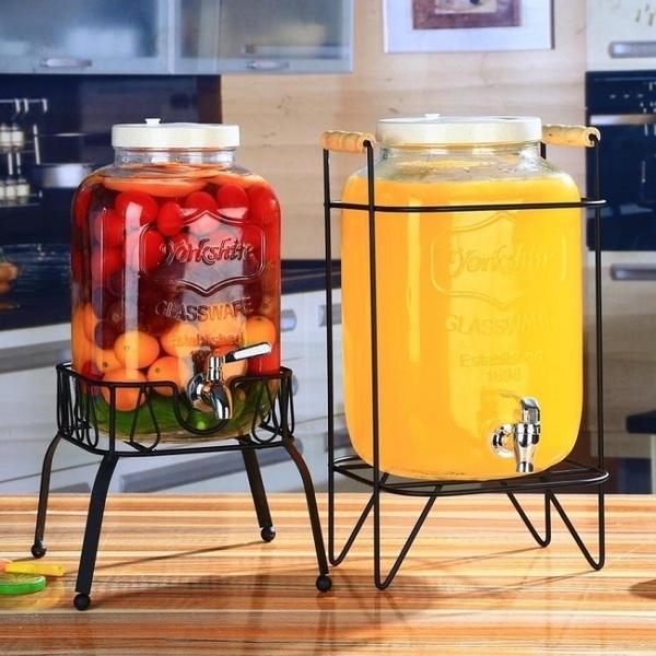 冷水壺 復古無鉛玻璃壺開關瓶果汁罐冷飲冷水壺大容量不耐熱水龍頭飲料桶完美