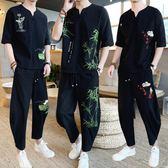 棉麻衣 亞麻套裝男中國風刺繡短袖t恤潮流夏季寬鬆加肥大碼棉麻一套衣服