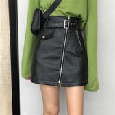 皮裙 2020秋季新款韓版拉鏈A字短裙高腰顯瘦黑色半身裙包臀皮裙子女 快速出貨