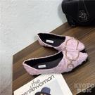 新款時尚百搭尖頭單鞋女平底淺口瓢鞋船鞋女鞋 快速出貨