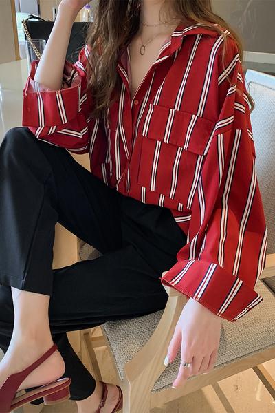 清倉188 韓國風寬鬆慵懶條紋襯衫長袖上衣