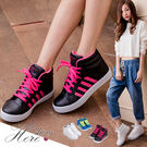 [Here Shoes]3色 校園百搭撞色 皮革質感 繫帶高筒休閒運動鞋   ◆MIT台灣製─AJ18039