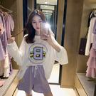 出清288 韓系寬鬆印花T恤抽繩休閒寬口褲套裝長袖褲裝