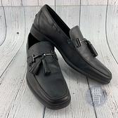 BRAND楓月 TOD S 經典 低跟 英倫風 黑色 皮革 男士 流蘇 皮鞋 鞋子 #6.5
