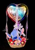 10吋抱心史迪奇幸福熱氣球,金莎花束/情人節禮物/婚禮佈置/派對慶生,節慶王【Y572452】