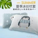兒童冰絲枕套夏季涼爽卡通可愛30x50學生40x60枕頭套夏天單人枕用  一米陽光