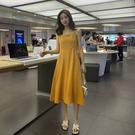 VK精品服飾 韓國風長裙氣質甜美收腰顯瘦吊帶無袖洋裝