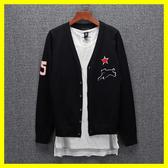 春秋新品針織開衫薄款外套男士韓版修身純色毛衣休閒線衣V領2206