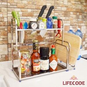 【LIFECODE】收納王不鏽鋼雙層置物架(附砧板架+杯架+掛勾x2)