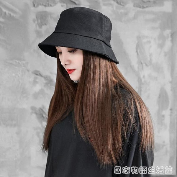 帽子假髮一體式漁夫帽女春夏天中長款時尚仿真頭套式直髮假髮髮片 雙十二全館免運