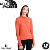 【The North Face 女 排汗透氣立領上衣AP《橘紅》】538U/薄長袖/春夏款/排汗衣