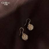 網紅氣質耳環女法式宮廷風水滴耳墜復古珍珠鏤空球耳飾韓國時尚