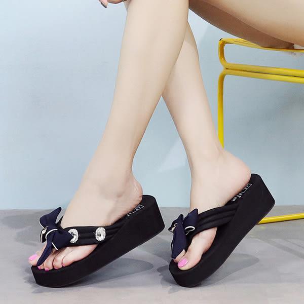 坡跟涼鞋 女厚底夾腳人字拖鞋【多多鞋包店】z2372