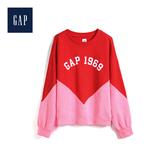 Gap女童活力撞色徽標印花上衣527650-正紅色