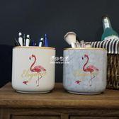 筆筒ins火烈鳥陶瓷大理石紋化妝刷筆筒收納盒北歐創意大號金邊毛筆桶 伊莎公主