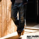 【BIG TRAIN】骷髏貼皮垮褲(中藍)_牛仔褲3折up