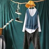 棉紗縷空V領針織背心無袖馬甲五色可選/設計家Y11684