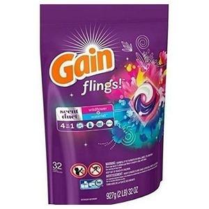 美國PG Gain第四代4合一洗衣凝膠球-野花瀑布香(32顆)*2包