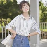 帛卡琪2020新款拼色豎條紋短袖雪紡襯衫女學生寬鬆v領半袖上衣夏