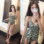 連身泳裝  韓國新款復古系帶遮肚收腰顯瘦聚攏三角連體游衣