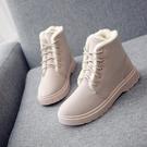 秋冬季加絨加厚雪靴棉鞋短靴女鞋低跟學生短筒繫帶馬丁靴女靴子