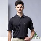 JOHN DUKE時尚紳士細條紋POLO衫 - 黑灰條