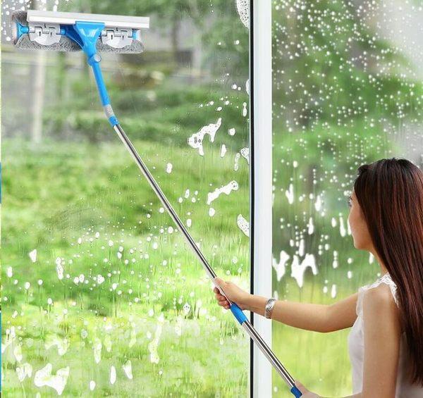 擦玻璃器家用高樓雙面擦搽窗伸縮桿 玻璃刮刷清潔【QJ9743】